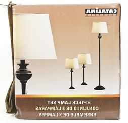 Catalina Lighting 18079-001 Transitional 3-Piece Lamp Set wi