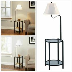 2 in 1 Transitional Glass Floor Lamp With Shelves Reading En