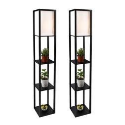 2Pcs LED Floor Lamp Wood Shelf Lighting Black Shade  Modern