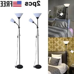 2PC Dimmable Eye-Care LED Floor 2 Lamp with Remote Control,