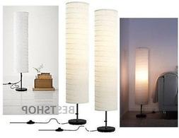 2x NEW IKEA HOLMO FLOOR LAMP BLACK/WHITE,GIVES A SOFT MOOD L