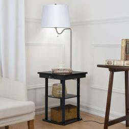 """57"""" Height Home Built in End Table Swing Arm Floor Lamp with"""