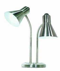 Satco Products 60/806 Twin Goose Neck Desk Lamp, Brushed Nic