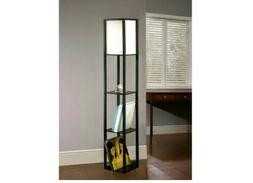 "Catalina Lighting 62.8"" Matte Black Square Wooden Etagere Fl"
