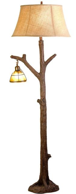 """63.5""""H Tree Floor Lamp with Glass Night Light Branch Rustic"""