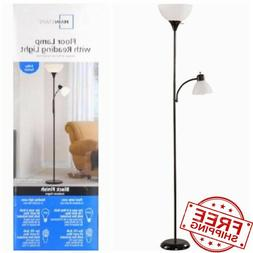 "72"" Black Metal Floor Lamp with Reading Light for Living Roo"