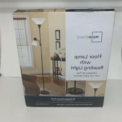"72"" Bronze  Metal Floor Lamp with Reading Light for Living R"