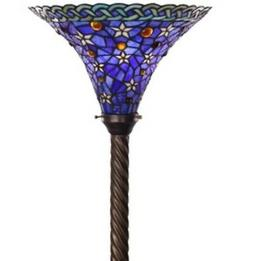 Antique Tiffany-style Blue Star Torchiere Lamp Tiffany Lamps
