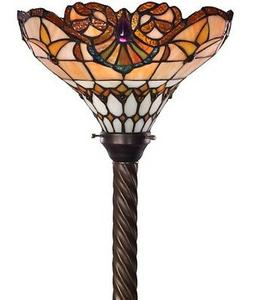 Antique Tiffany-style Classic Jewel Torchiere Lamp Tiffany L