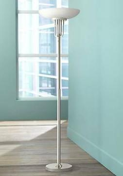 Art Deco Torchiere Lamp Polished Nickel Frosted Glass for Li