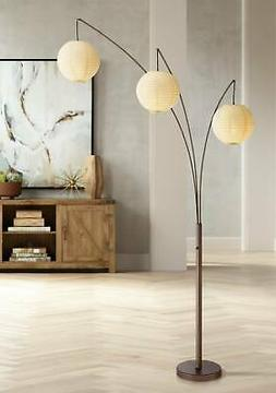 Asian Arc Floor Lamp Adjustable Bronze Paper Shades for Livi
