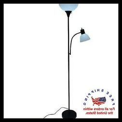Black Metal Floor Lamp with Reading Light for Living Room Up