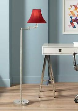 Brushed Nickel with Red Shade Swing Arm Floor Lamp