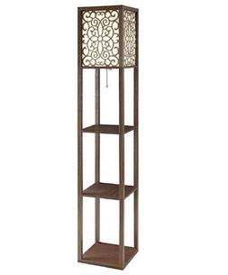 CAPPUCCINO FLORAL FLOOR LAMP WITH THREE TIERED SHELVES