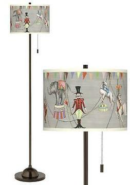 Club Floor Lamp Tiger Bronze Circus Time Giclee Shade for Li