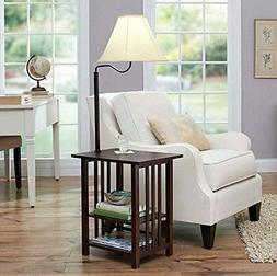 Combination Floor Lamp End Table with Shelves and Swing Arm