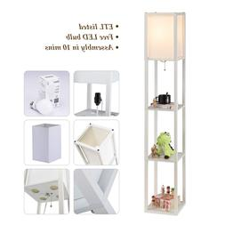 Contemporary Accent Light Wooden Floor Lamp w/ Storage Shelv