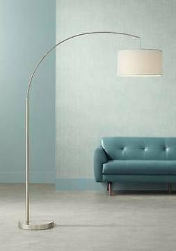 Cora Brushed Steel Arc Floor Lamp
