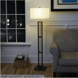 Mainstays Dark Wood Floor Lamp with Rice Paper Shade