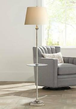 Dayton Satin Nickel Floor Lamp With Glass Tray Table