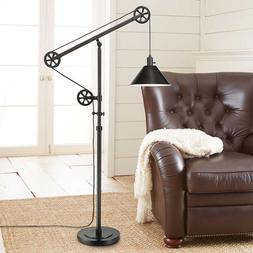 Industrial Pulley Floor Lamp Bronze Finish w/ Adjustable Arm