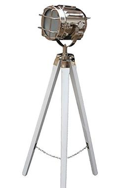 Designer Nautical Spot Searchlight Floor Lamp Nickel/chrome/