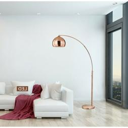 Dome Rose Copper LED Arched Floor Lamp With Dimmer Furniture