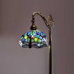Elegant Dragonfly Stained Glass Floor Lamp Colorful Light Li