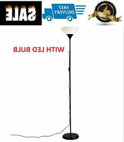 Extra Tall Stand Up Garage Floor Lamp Black Post for Office