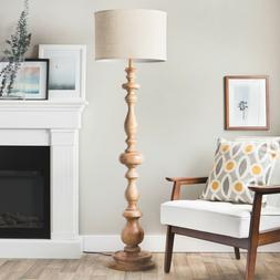 Floor Lamp 3 Way Line Switch Linen Drum Shade Wood Body with
