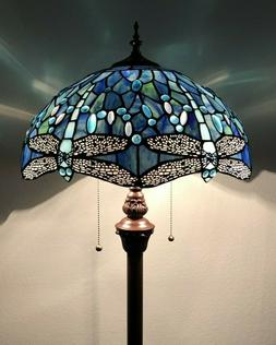 Enjoy Tiffany Floor Lamp Blue Stained Glass Dragonfly Antiqu
