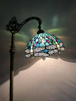 Enjoy Tiffany Floor Lamp Dragonfly Green Blue Stained Glass