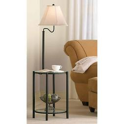 Floor Lamp Glass End Table Shelf Swing-Arm Matte Black Light