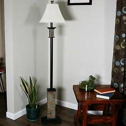 CASL Brands Floor Lamp with Metal and Slate Base and Fabric