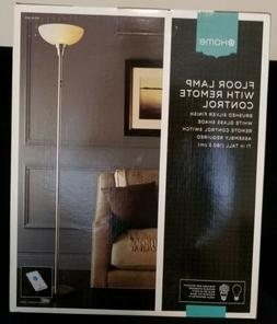 Floor Lamp With Remote Control Brushed Silver Finish White G