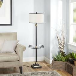 Floor Lamp with Shade and Glass Tray Home Decor Furniture