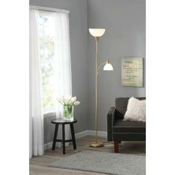 gold Metal Floor Lamp with Reading Light Living Room Uplight