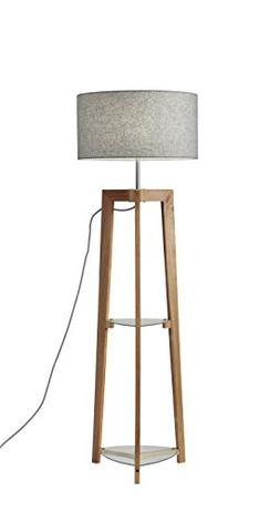 Adesso 3007-12 Henderson Shelf Floor Lamp, Walnut Ash Wood