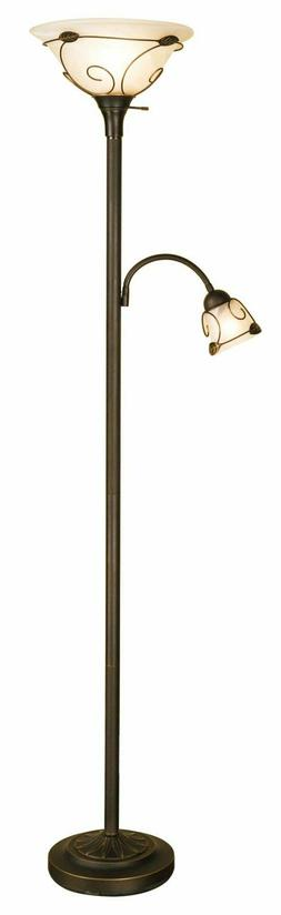 100W Incandescent Torchiere Floor Lamp with Side Reading Lam