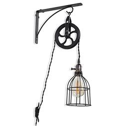 Rustic State Industrial Pulley Design Wall Sconces Pendant L