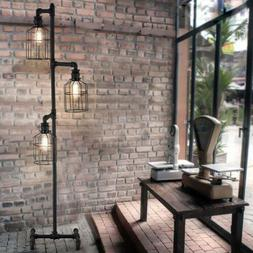 Industrial Steampunk 3 Cage Pipe Light Floor Lamp Weathered