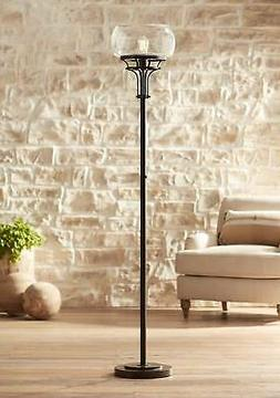 Industrial Torchiere Floor Lamp Oil Rubbed Bronze Clear Glas