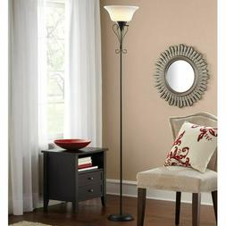 Iron Scroll Black Finish Frosted Shade  Torchiere Floor Lamp
