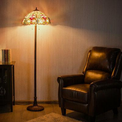 """Tiffany-Style Victorian 2 Light Floor Lamp w/ 18"""" Stained Gl"""