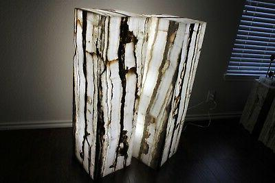 2 rectangle stone floor lamps onyx white