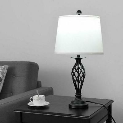 2 Table Lamps 1 Floor with Fabric Shades