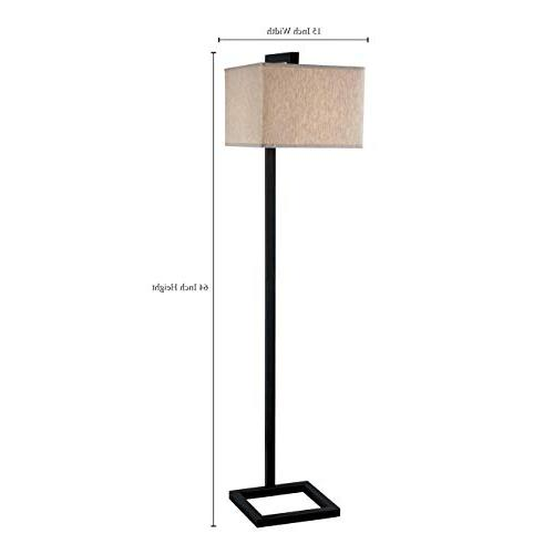 Kenroy Home Modern Lamp, 64 Oil Bronze Contemporary Tan Square Fabric Shade
