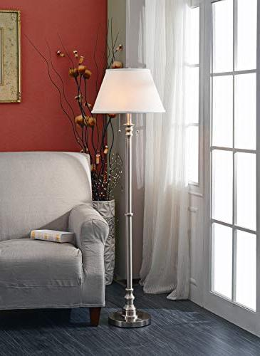 Kenroy Steel Lamp, On/Off 60 Inch Height, Natural Linen Shade