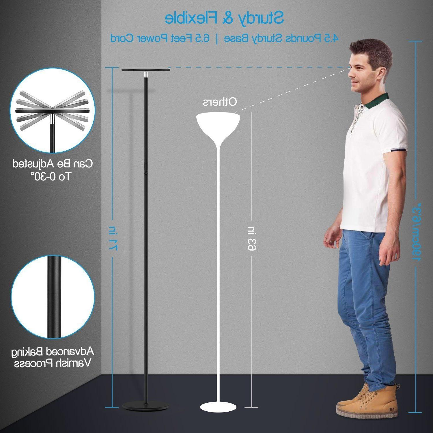 Vacnite 36W LED Torchiere Floor Lamp Energy Dimmable Adjustable Lamp