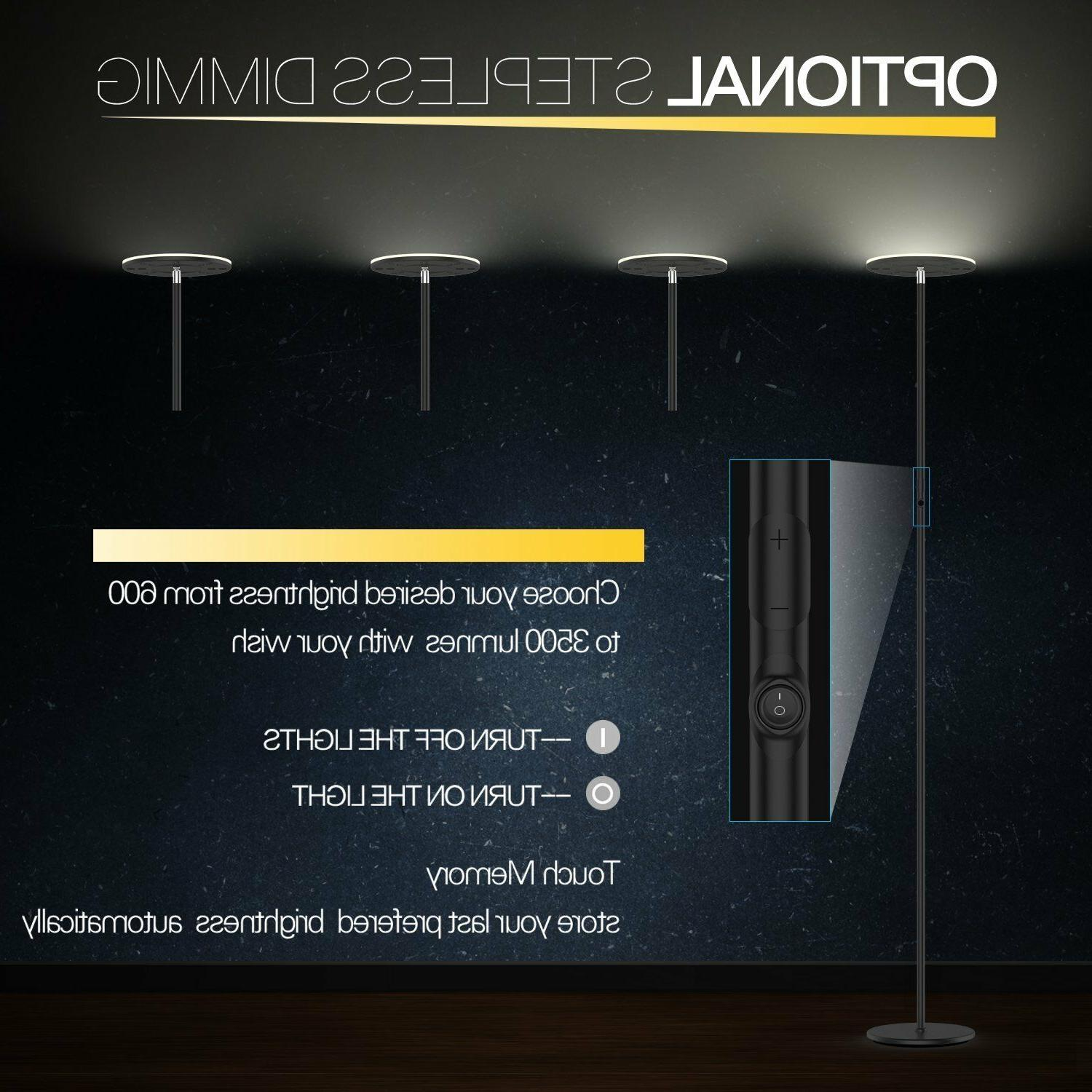 Vacnite 36W LED Torchiere Dimmable Adjustable Lamp